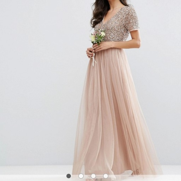83dff400bfeeb ASOS Dresses | V Neck Maxi Tulle Dress With Tonal Delicate Sequin ...